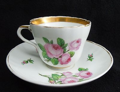 Antique KPM Konigliche Porzellan Manufaktur Germany Cup Saucer Pink Rose S13-120