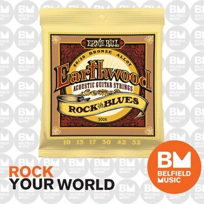 Ernie Ball 2008 Acoustic Guitar Strings Earthwood 80/20 BRONZE Rock& Blues 10-52