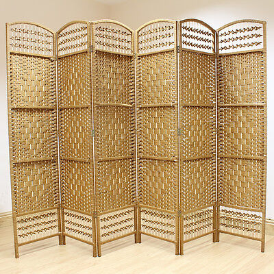 Beige 6 Panel Wicker Room Divider Hand Made Privacy Screen/Separator/Partition