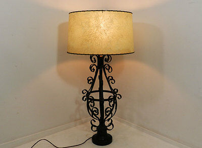 Vintage French Regency Wrought Iron Large Metal Table Lamp style of Unamoff