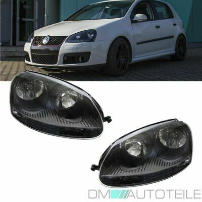vw golf 5 v scheinwerfer schwarz r32 gti gtd lampen vorne. Black Bedroom Furniture Sets. Home Design Ideas