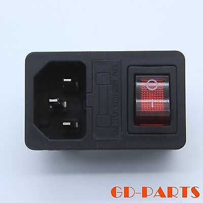 AC Power plug Mains Connector with fuse Holder rocker Switch 250V 10A IEC320 1PC