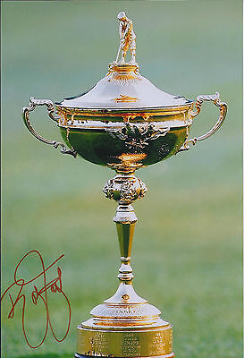 Rickie FOWLER SIGNED Autograph 12x8 Ryder Cup Trophy Photo AFTAL COA GOLF