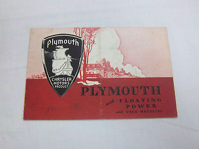 PLYMOUTH  SALES BROCHURE PAMPLET 1930's VINTAGE  CAR   **
