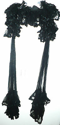 BEAUTIFUL RARE ANTIQUE EARLY 1900's LADIES LONG BLACK SILK DRESS NECK ARM SHAWL