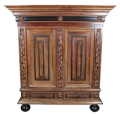 Antique Dutch Carved Oak Paneled Cupboard Bookcase Wardrobe Closet