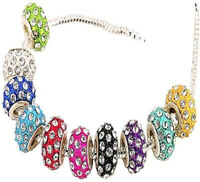 5pcs COLOURS CRYSTAL CHARMS HEAVY DUTY STERLING SILVER WHOLESALE BEADS BRACELETS