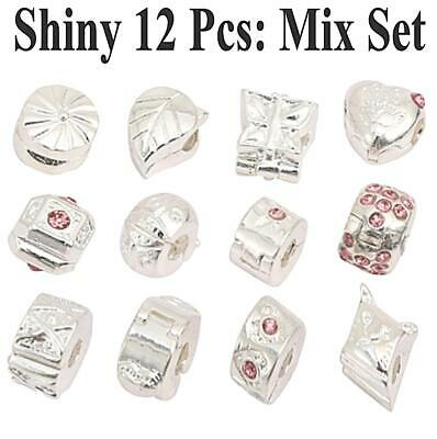 12 x Pcs WHOLESALE Pink CRYSTAL 925 SILVER STOPPERS CLIPS BEADS CHARMS BRACELETS