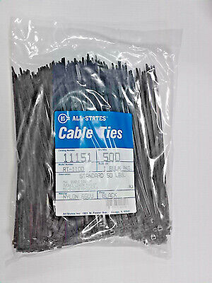 """500 Pcs. 11-1/2"""" Black Weather Resistant Nylon Cable Ties/zip Ties Made In Usa."""