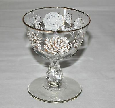 Libbey Rose Bouquet Champagne Tall Sherbet Glass Stemware Rock Sharpe Gold White