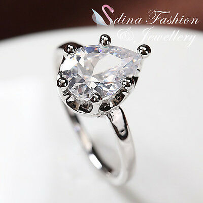 18K White Gold Plated Simulated Diamond Oval Cut Crown Teardrop Ring
