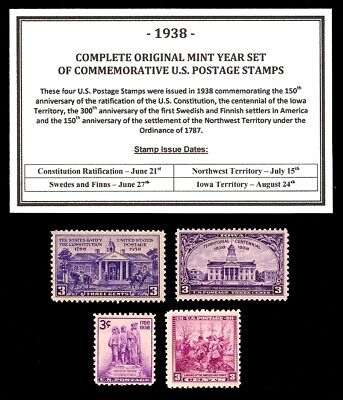 1938 Complete Year Set Of Mint -Mnh- Vintage U.s. Postage Stamps