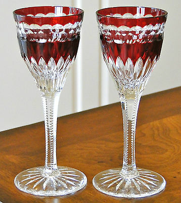 Faberge Na Zdorovye Liqueur/cordial Glasses, Ruby Red Cased Crystal, Signed