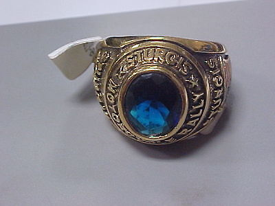 NEW 2004 Sturgis Motorcycle Rally Gold Ring Size 13 Blue Stone