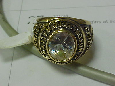 NEW 2004 Sturgis Motorcycle Rally Gold Ring Size 12 Clear Stone