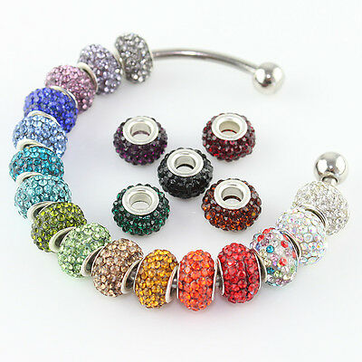 Lots Austrian Crystal Silver Plated Findings Charm Beads Fit Bracelet 8x12MM