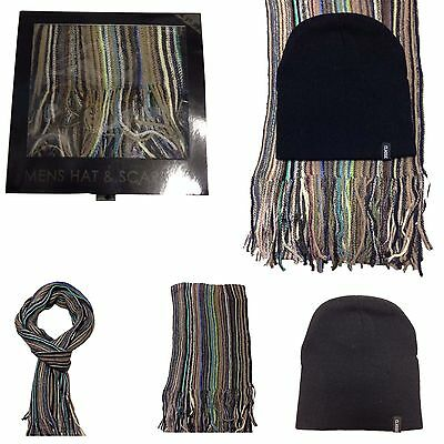 Brand New Mens Gents Boys Boxed Scarf And Hat Cap Christmas Gift Set One Size