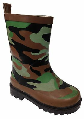 New Boys Novelty Camouflage Wellington Army Style Waterproof Rain Snow Wellies