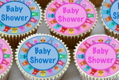 24 x BLUE & PINK BABY SHOWER EDIBLE CUPCAKE TOPPERS PREMIUM RICE PAPER 7202