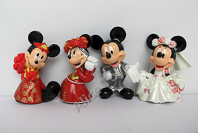 Mickey & Minnie Mouse Lovely Prefect Wedding Cake Topper Figure Toy Gift 4pc Set