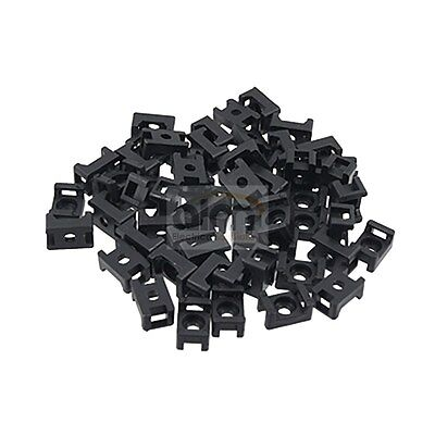 Cable Tie Saddle Mounting - Nylon Black Base Mount Pk 50 - Up to 8mm Cable Ties