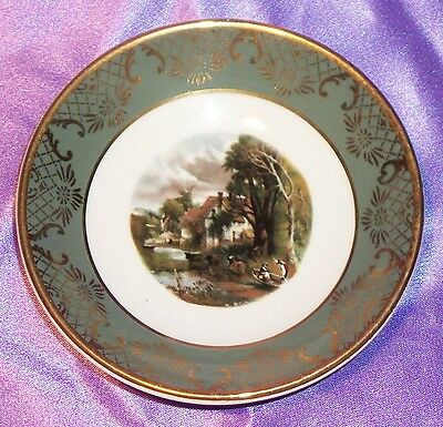 Estate Collectable ~ Gold Rim Falcon Ware England Pin Butter Pat Dish ~ Vintage