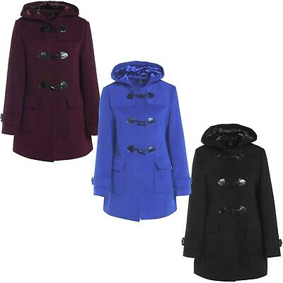 Ladies Womens Duffle Wool Trench Coat Winter Hooded Toggle Vintage Jacket 8-24