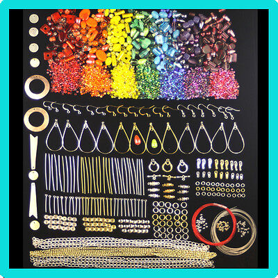 Rainbow coloured beads and Findings Kit For Jewellery Making
