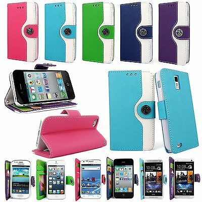 Color Wallet Pocket PU Leather Case Cover Protector Flip For Many Phones Model