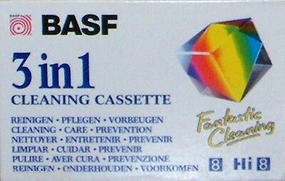 BASF 3 in 1 Cleaning Cassette Tape (Hi 8) Clean & Protect Video / Audio Heads