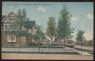 Postcard GARY Indiana/IN  Jackson Street Houses/Homes view 1907