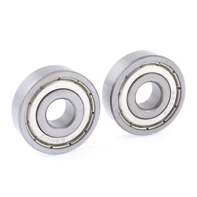2 Pcs 10mm x 30mm x 9mm Metal Sealed Single Row Deep Groove Ball Bearing 6200Z
