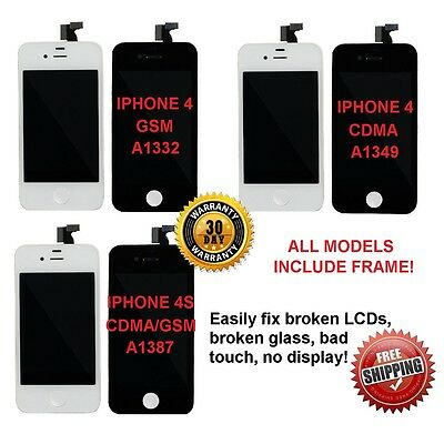 New Replacement LCD Touch Screen Digitizer Glass Assembly for iPhone 4 or 4S