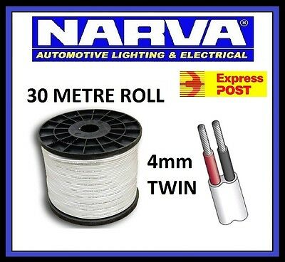 NARVA 4MM TINNED TWIN CORE CABLE x 30 METRE ROLL 30M MARINE WIRE 12V 5824M-30TW