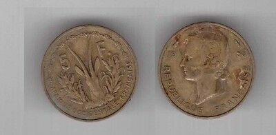 FRENCH WEST AFRICA – 5 FRANCS COIN 1956 YEAR KM#5