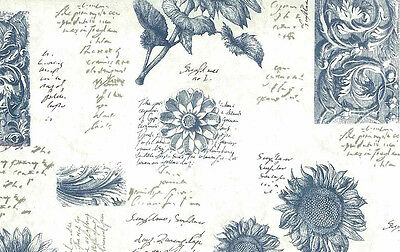 Sunflowers Wallpaper Blue Cream French Botanical Village 5802513 Double Rolls