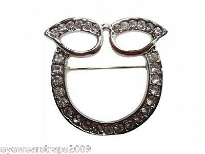 Stunning Silver Plated Rhinestone Crystal Glasses / Sunglasses Holder Brooch Pin