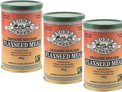 3 x 500g STONEY CREEK Golden Organic Flaxseed Meal / FLAX SEED (1.5kg deal)