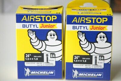 "Lot de 2 Chambre a air Velo MICHELIN BUTYL Junior E4 24"" 1.5<->1.9 en SCHRADER"