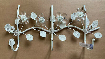 Bombay Duck Shabby Chic Flower Foral Vintage White Crystals Leaves Triple Hook