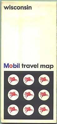 1966 Mobil Wisconsin Vintage Road Map