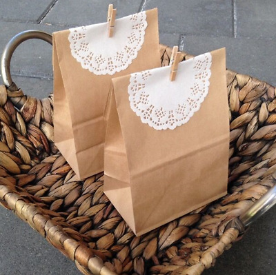 100x vintag paper gift favour bags with wooden pegs doilies party wedding favour