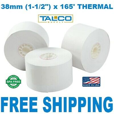 38mm x 165' THERMAL CASH REGISTER PAPER - 5 NEW ROLLS  ** FREE SHIPPING **
