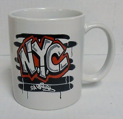 New York NYC Graffiti White Ceramic Coffee Mug Designed by A. Charles, BRAND NEW