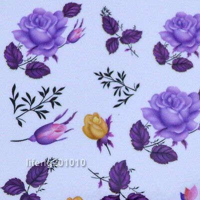 Rose flower water transfer nail stickers decals for nail art decoration M82