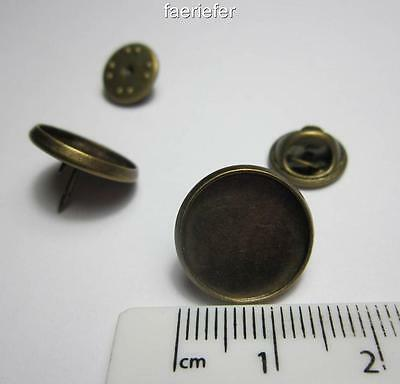 2 Antique Bronze Round Cabochon Setting Brooches 14 mm tie clutch pin back