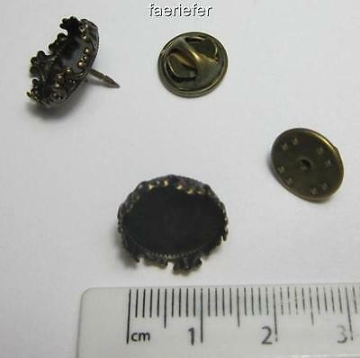 2 Antique Bronze ornate Setting Brooches crown edge tie clutch pin back bezel