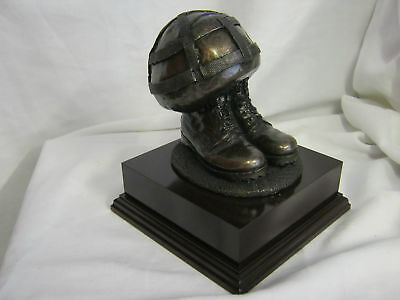 Beret Or Helmet And Boots - Military Bronze Resin Statue  Sculpture