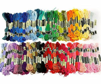 100 Trendy Mix Colors Cross Stitch Embroidery Thread Floss Cotton Sewing Skeins