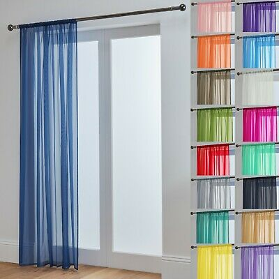 Voile Curtain Panel Lucy Slot Top Plain - Free 1st Class Post - Net & Voile
